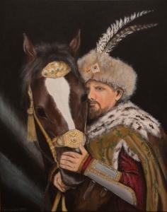 Szlachcic z koniem. Grudzień 2017.