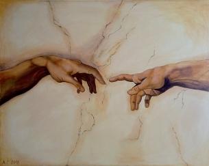 Stworzenie Adama wg. Michala Anioła na ścianie. Wymiary 120 x 100cm.